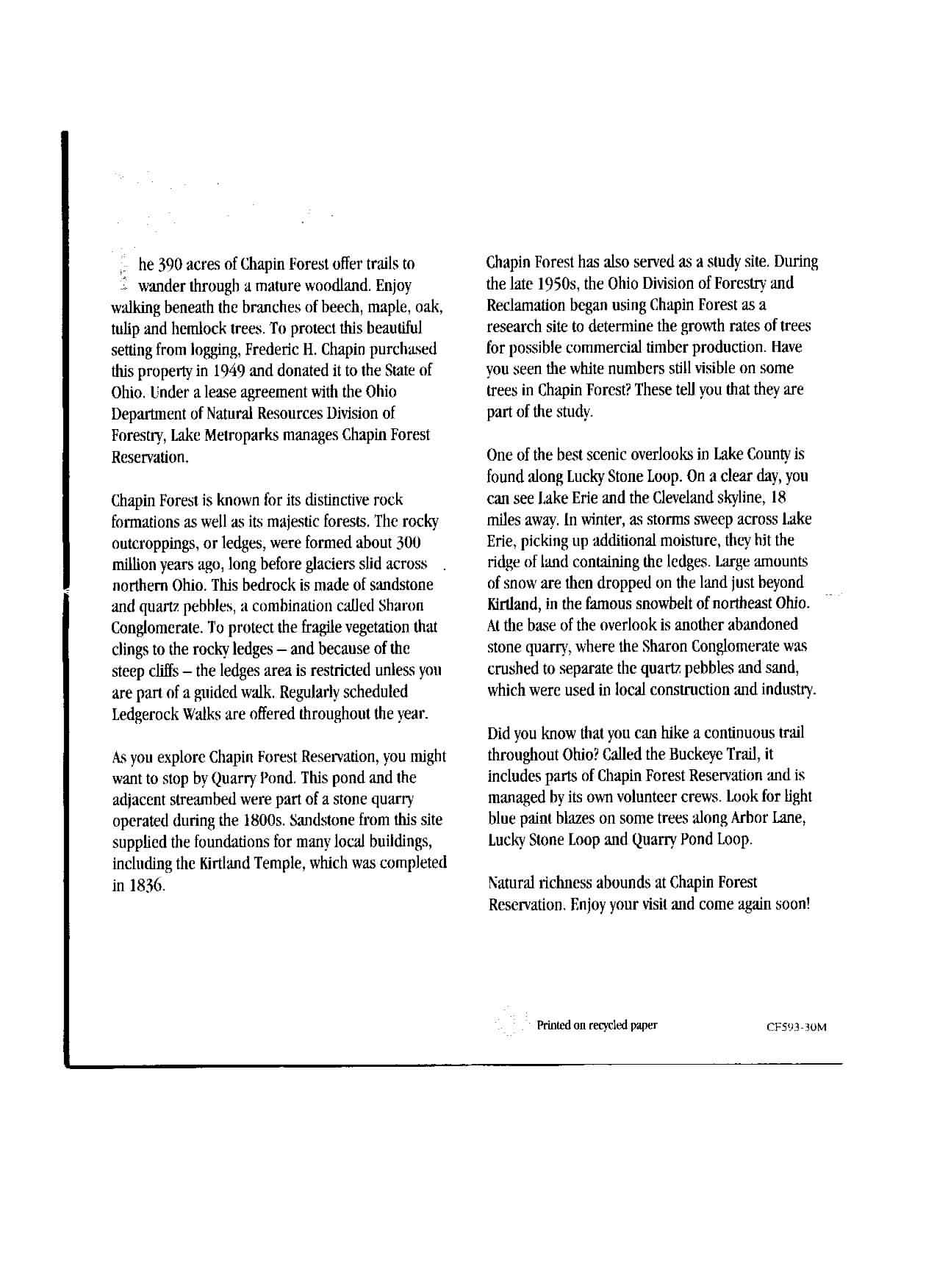 Chapin Forest Reservation Brochure Part 2