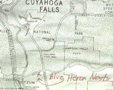 Great Blue Heron Nests Location Map