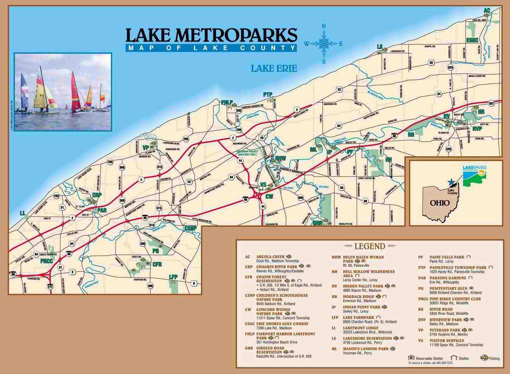 Lake Metroparks Location Map