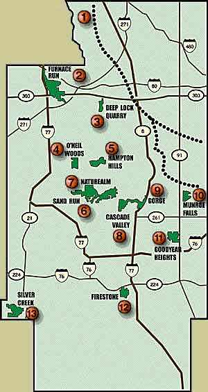 Glens Trail Gorge Metropark Location Map