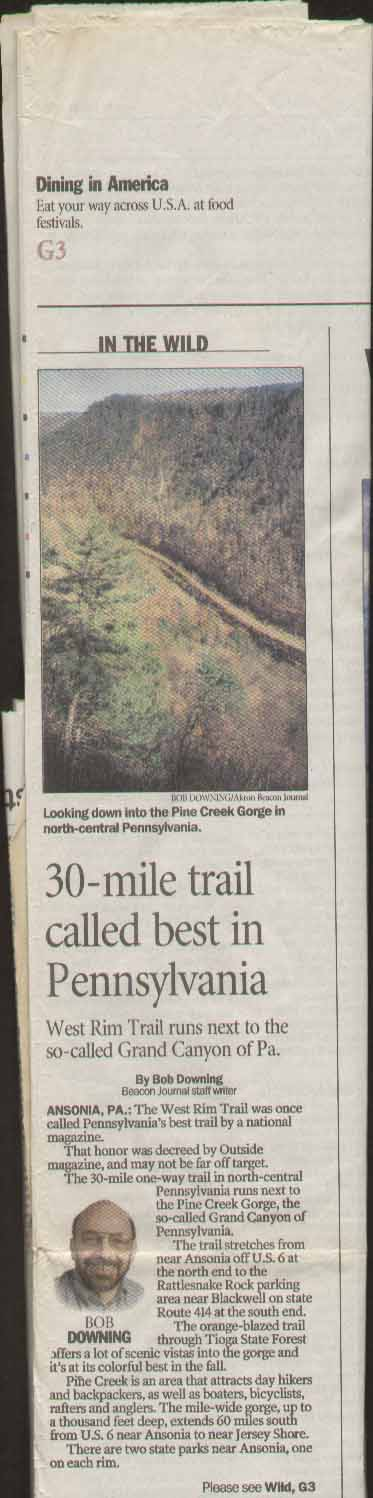 Akron Beacon Journal Article Pine Creek Gorge Part 1