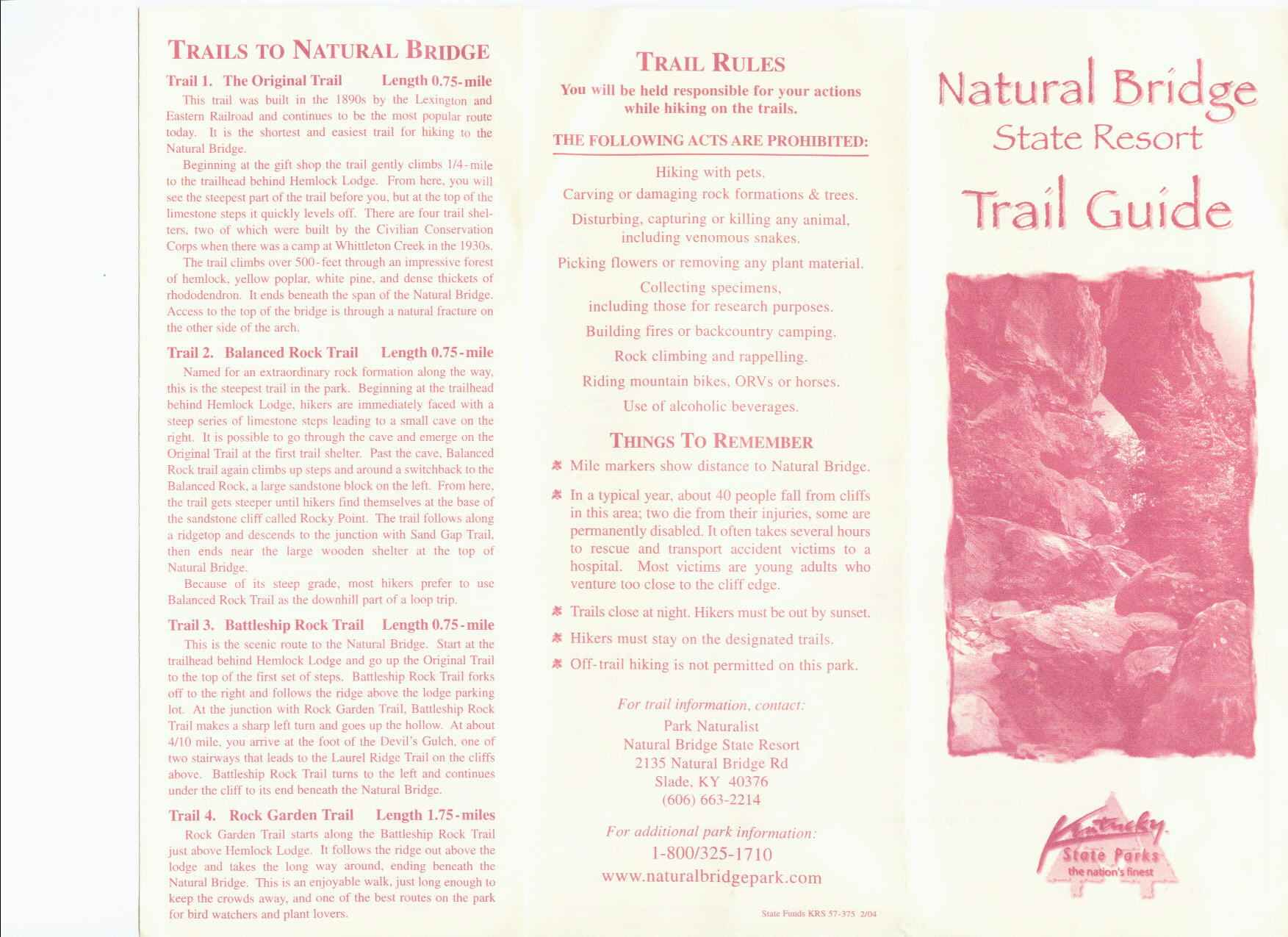 Natural Bridge State Park Trail Map Part 2